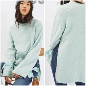 Topshop Tie-Sleeve Mohair Knit Sweater
